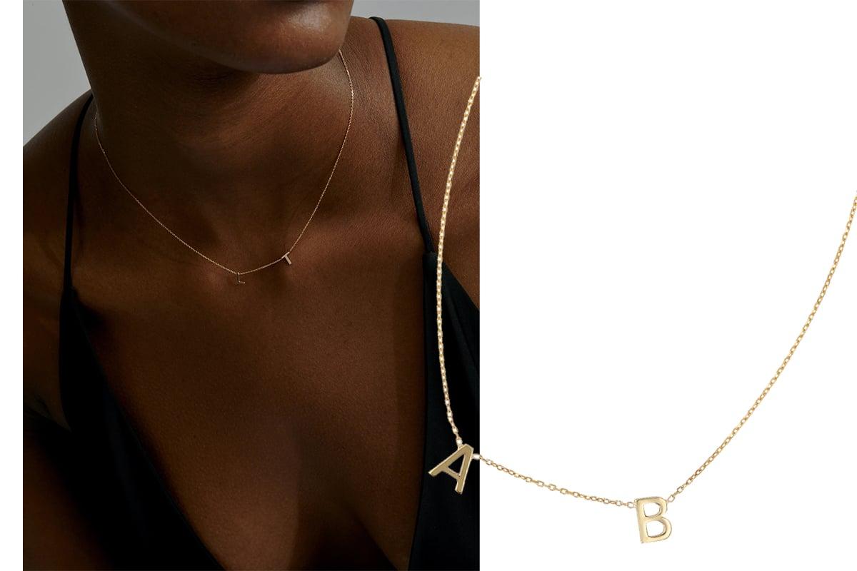 double petite letter necklace